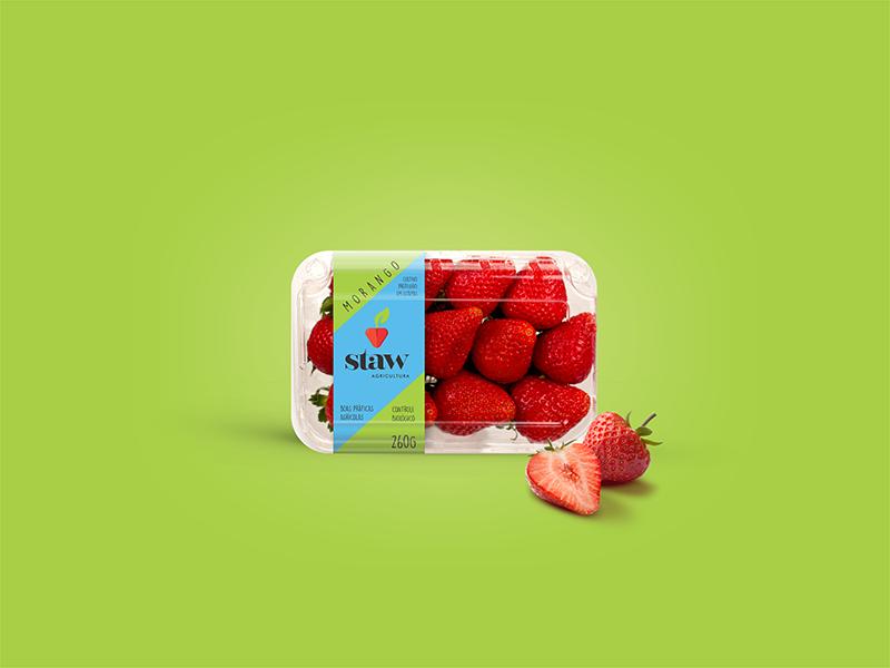 Rótulo para embalagem bandeja de morangos.